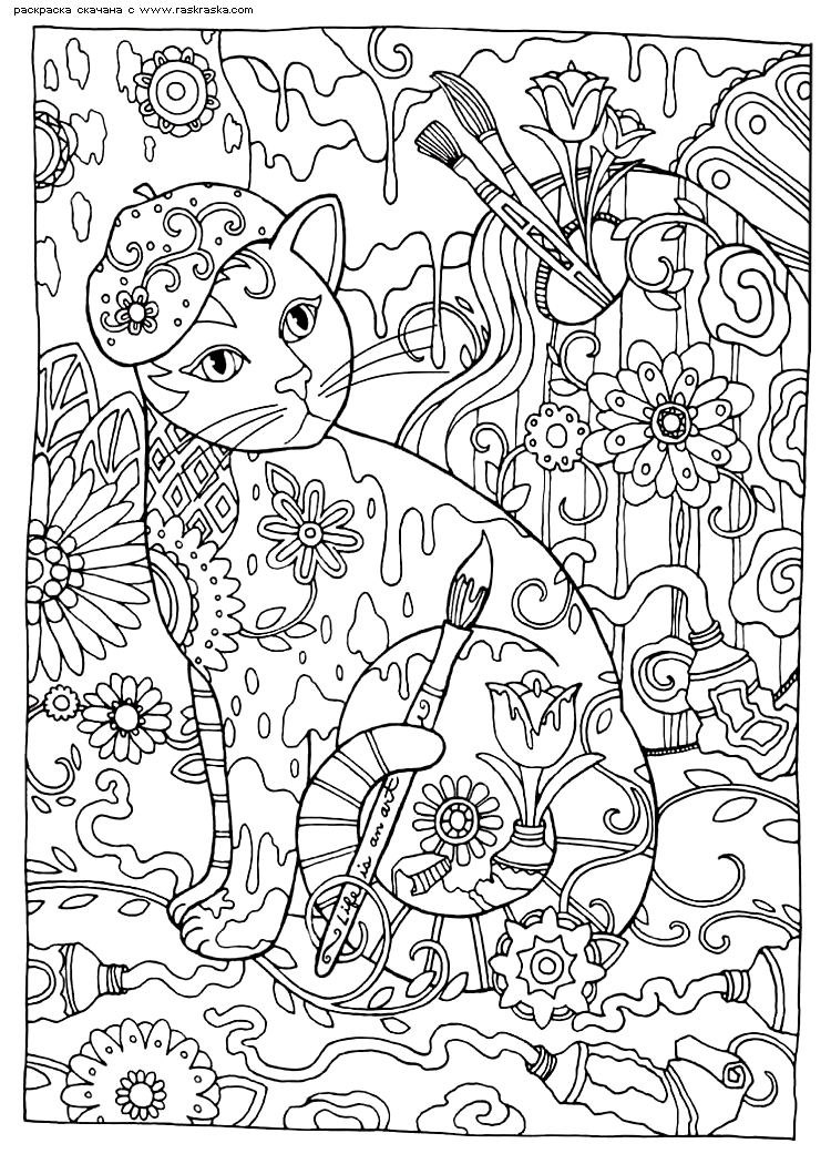 Раскраска Кошка-художник | Раскраски антистресс Кошки ...