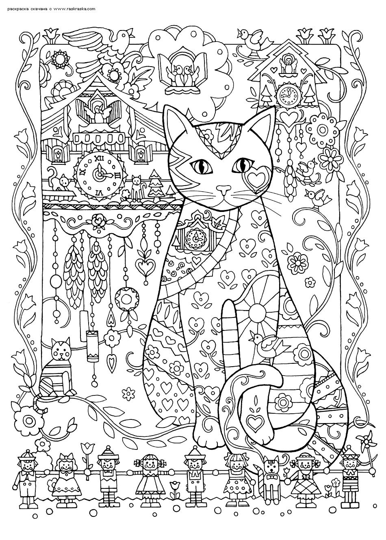 Раскраска Кошка-часовщик. Раскраска антистресс, кошка, часы