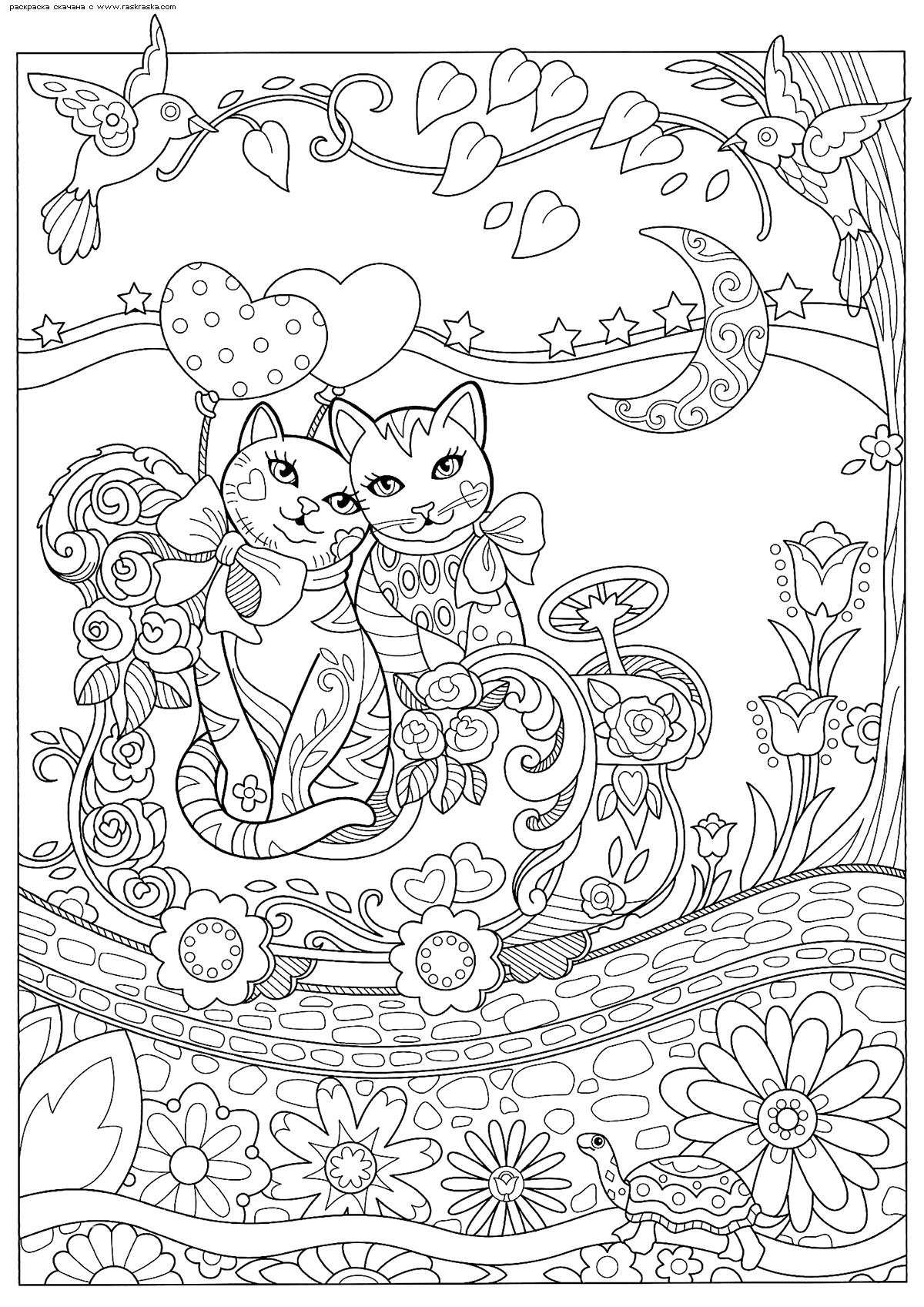 Раскраска Кошки на прогулке. Раскраска антистресс, коты