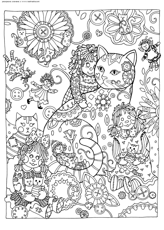 Раскраска Кошка и куклы | Раскраски антистресс Кошки ...