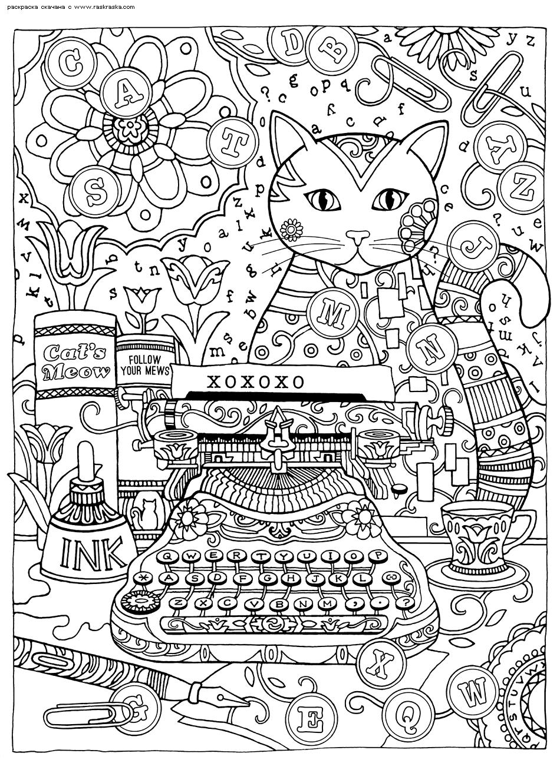 Раскраска Кошка за пишущей машинкой | Раскраски антистресс ...