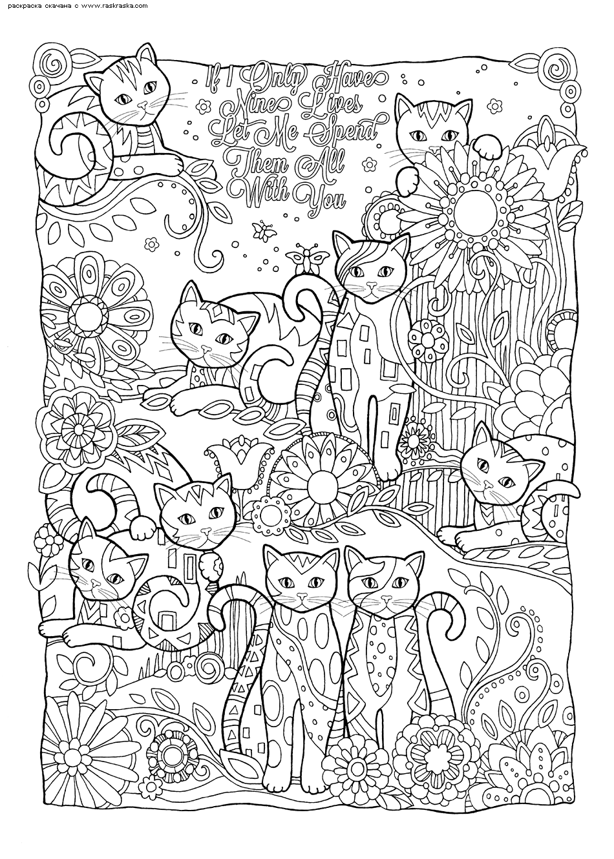 Раскраска Девять жизней | Раскраски антистресс Кошки ...