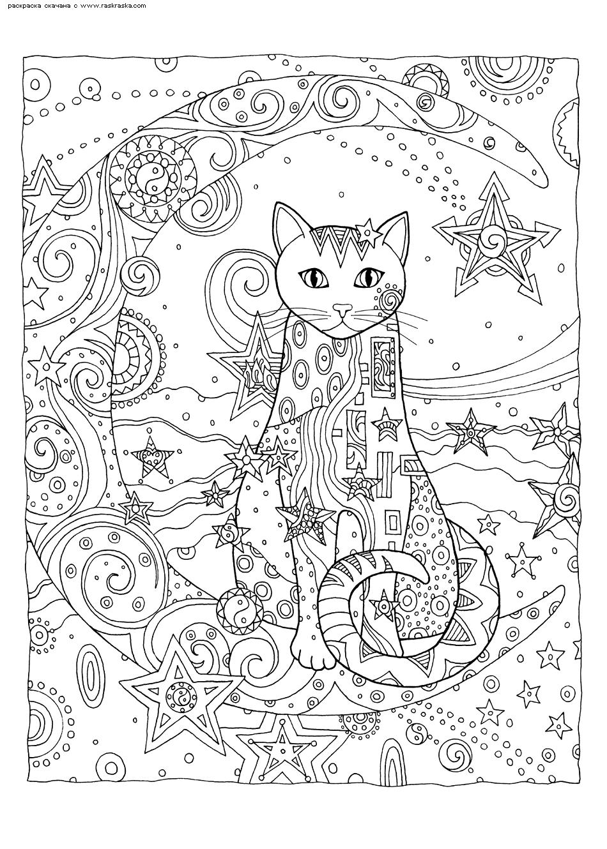 Раскраска Кошка и месяц | Раскраски антистресс Кошки ...