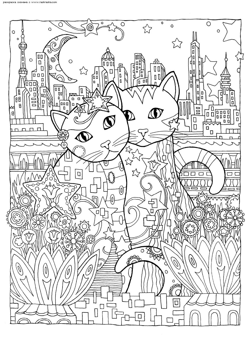 Раскраска Кошки в городе | Раскраски антистресс Кошки ...