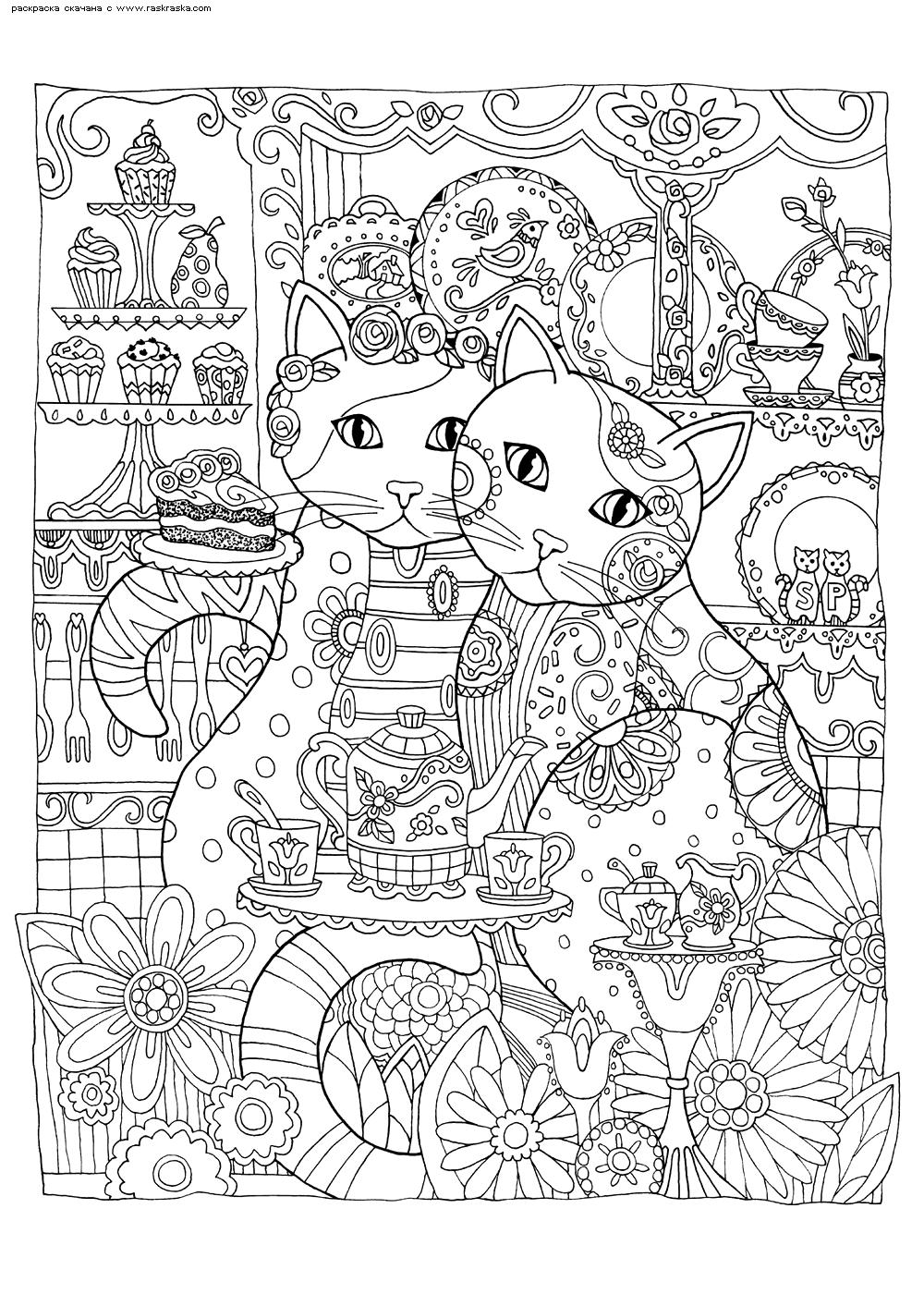 Раскраска Кошки в кафе | Раскраски антистресс Кошки ...