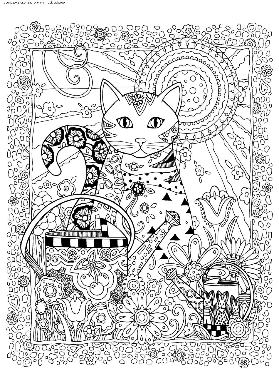Раскраска Кошка с саду | Раскраски антистресс Кошки ...