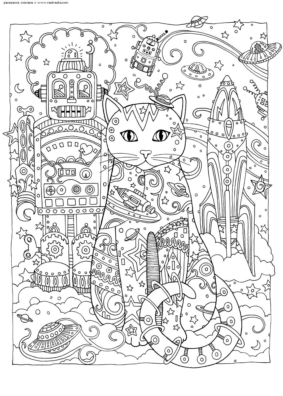Раскраска Кот и техника | Раскраски антистресс Кошки ...