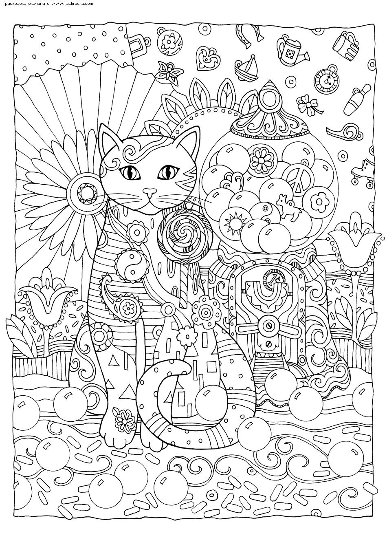Раскраска Сладкоежка. Раскраска кошка, антистресс