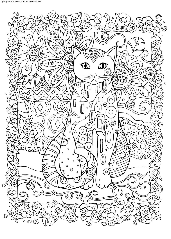 Раскраска Цветник. Раскраска кошка, антистресс