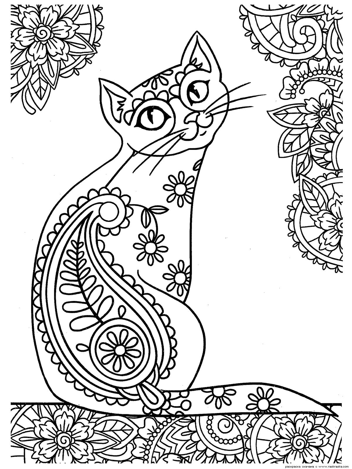 Раскраска Кошка | Раскраски антистресс Кошки. Сложные ...