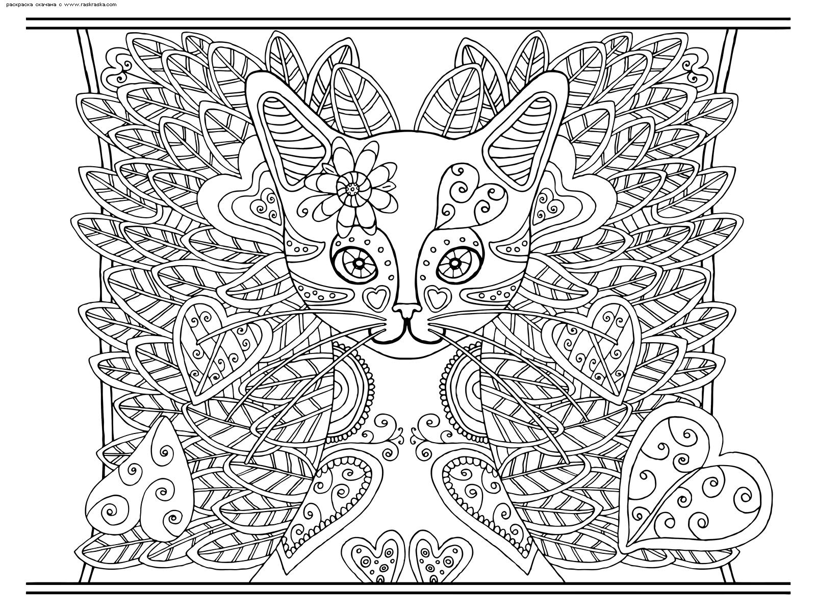 Раскраска Кошка. Раскраска кошка, антистресс