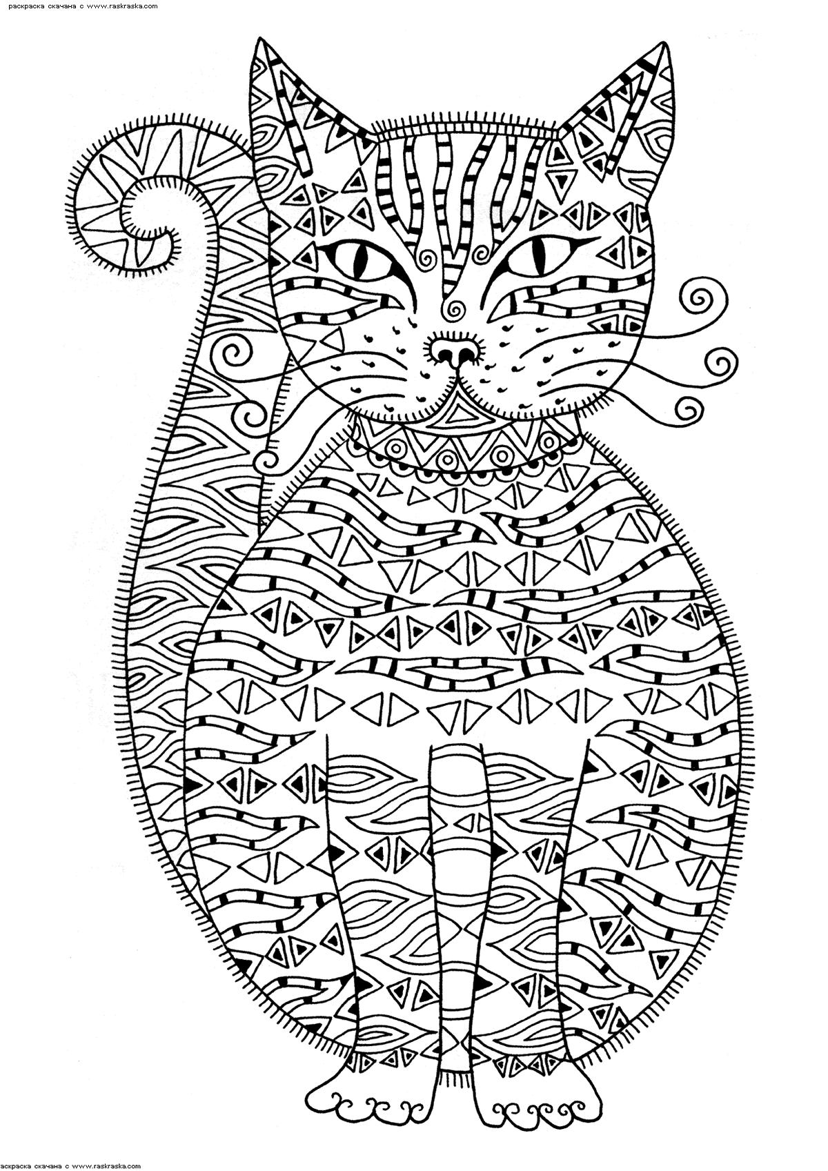 Раскраска Кошечка | Раскраски антистресс Кошки. Сложные ...