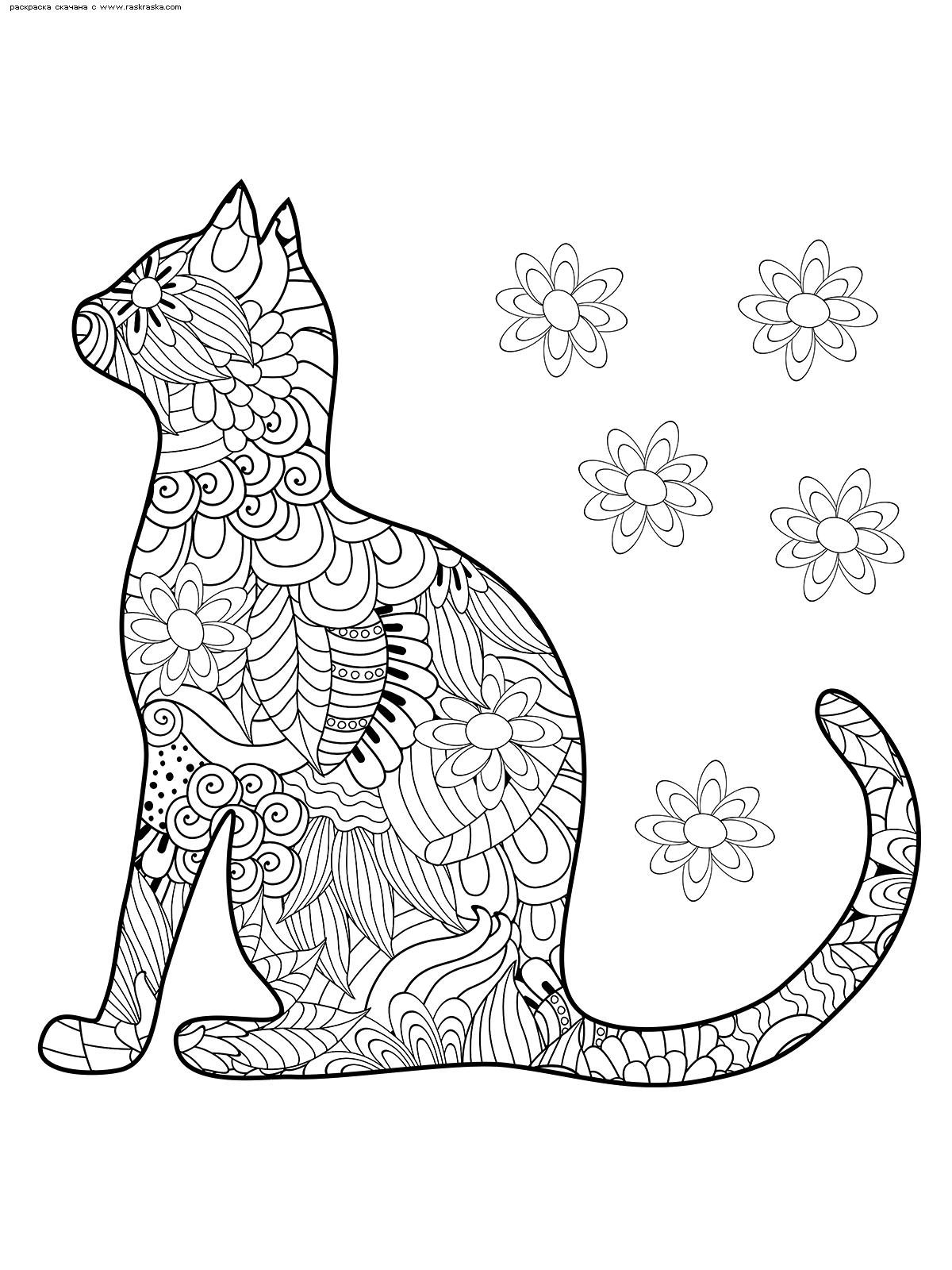 Раскраска Силуэт кошки | Раскраски антистресс Кошки ...