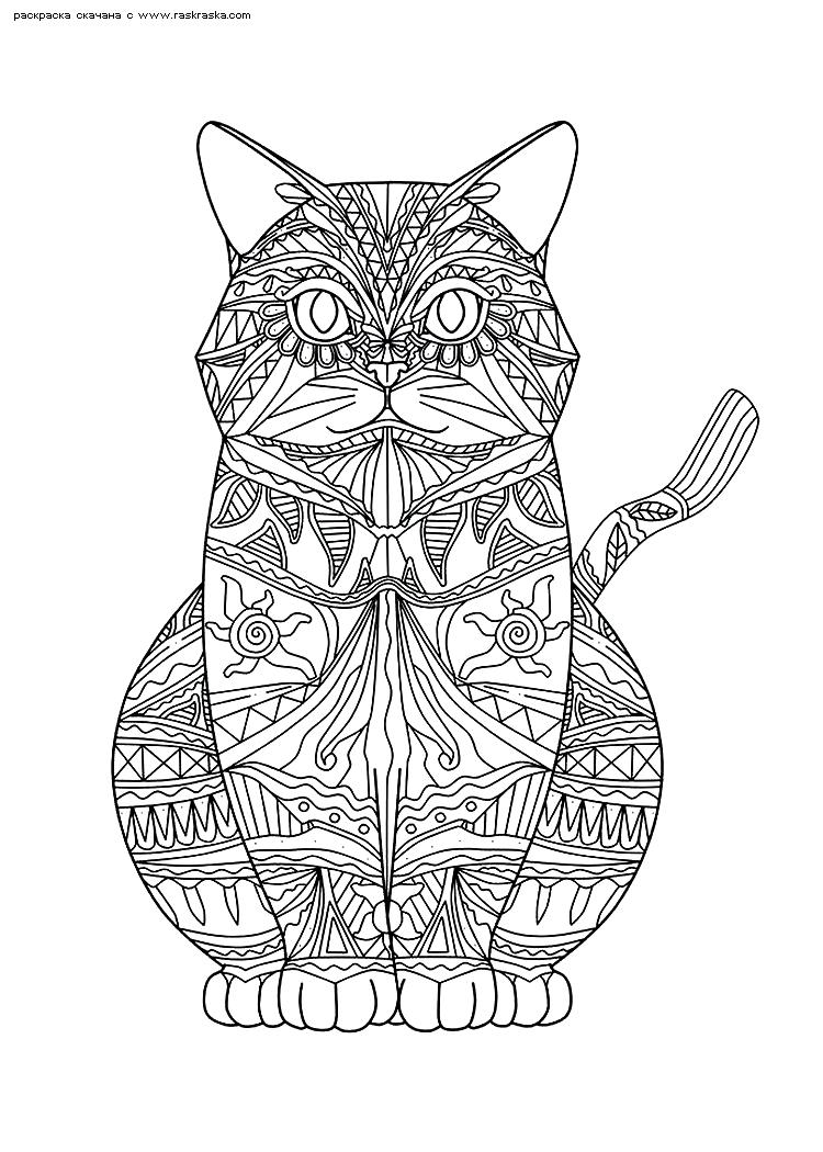 Раскраска Кошечка. Раскраска кошка, кот, антистресс
