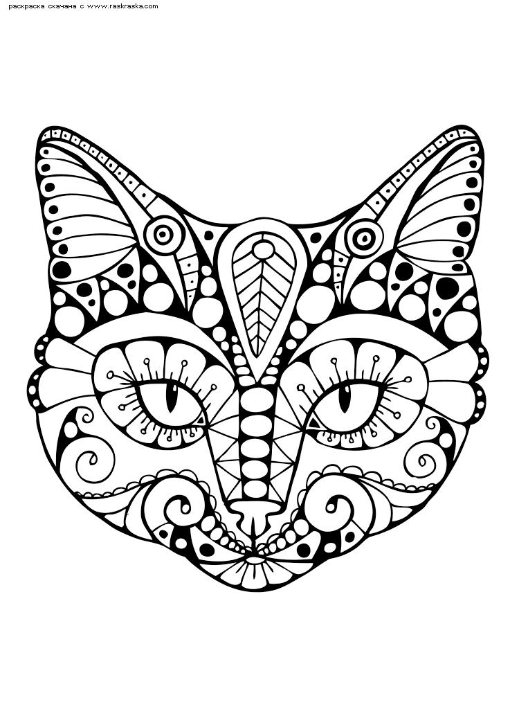 Раскраска Кот. Раскраска кот, кошка, антистресс