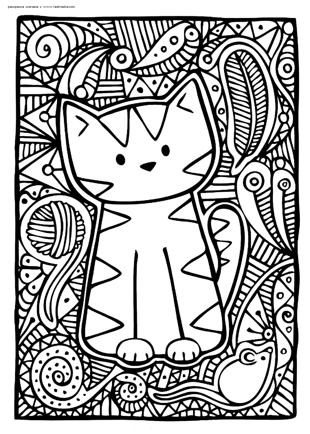 Раскраска Милый котенок | Раскраски антистресс Кошки ...