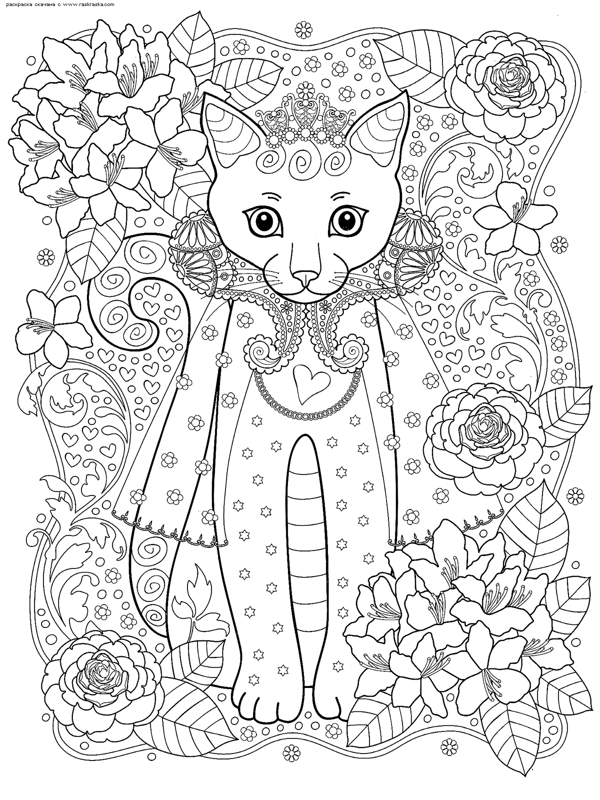 Раскраска Кошка-принцесса | Раскраски антистресс Кошки ...
