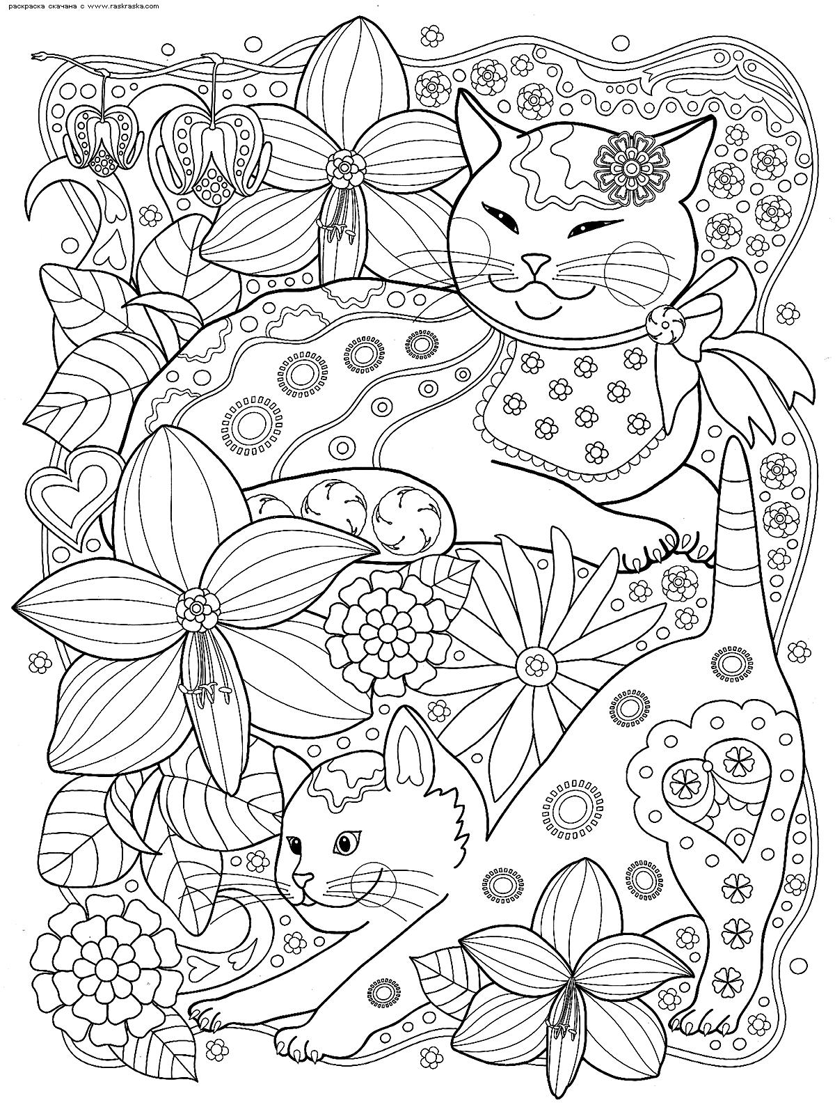 Раскраска Коты с цветами | Раскраски антистресс Кошки ...