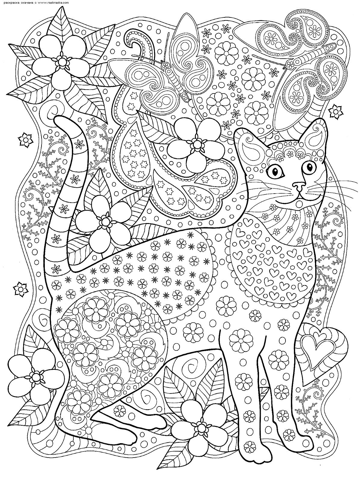 Раскраска Кот и бабочки. Раскраска кот, антистресс