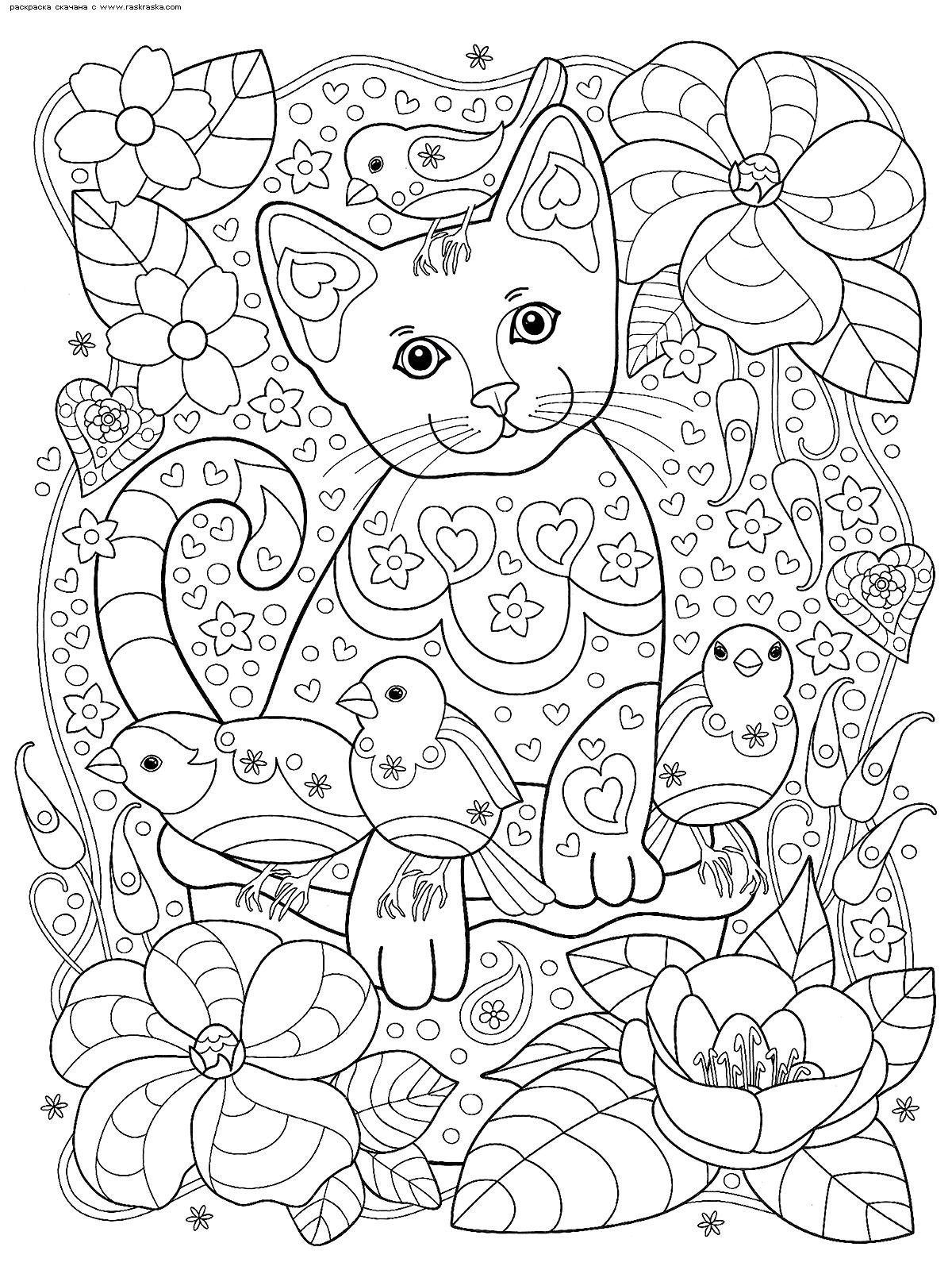 Раскраска Кот и воробьи. Раскраска кот, антистресс