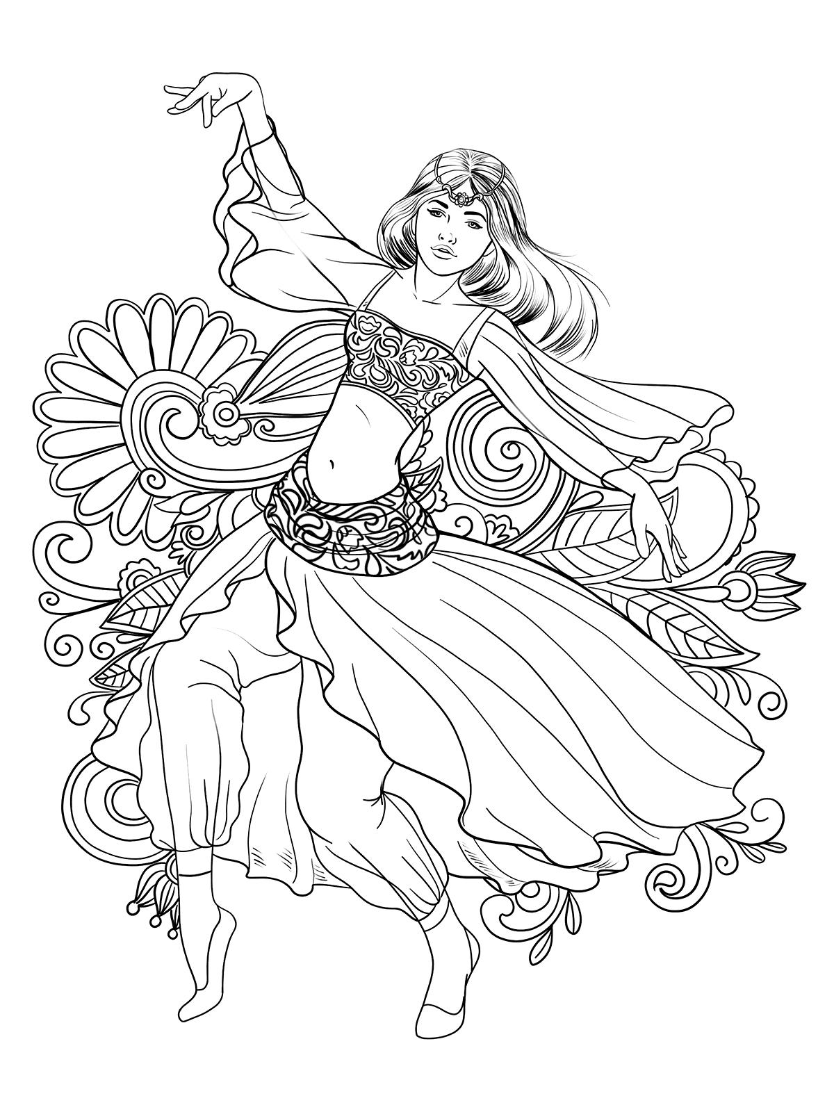 Раскраска Танцовщица. Раскраска антистресс