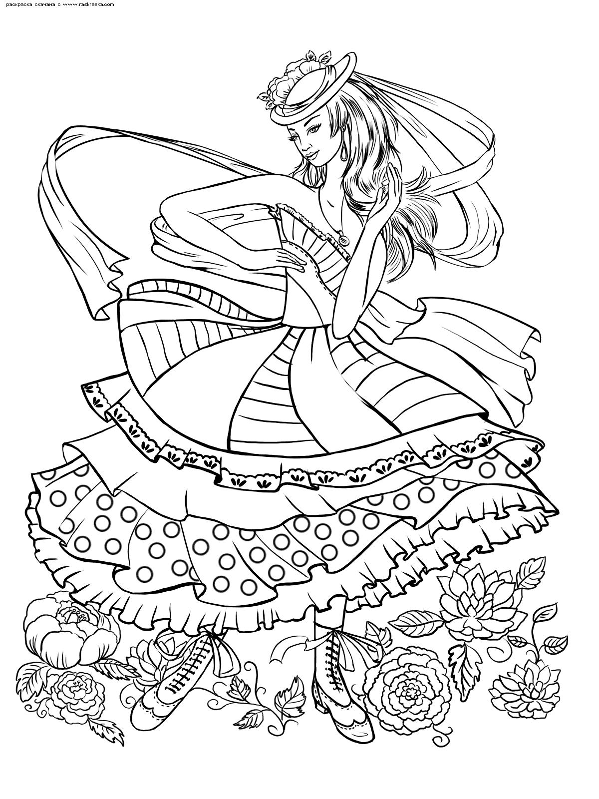 Раскраска Девушка в шляпке. Раскраска антистресс