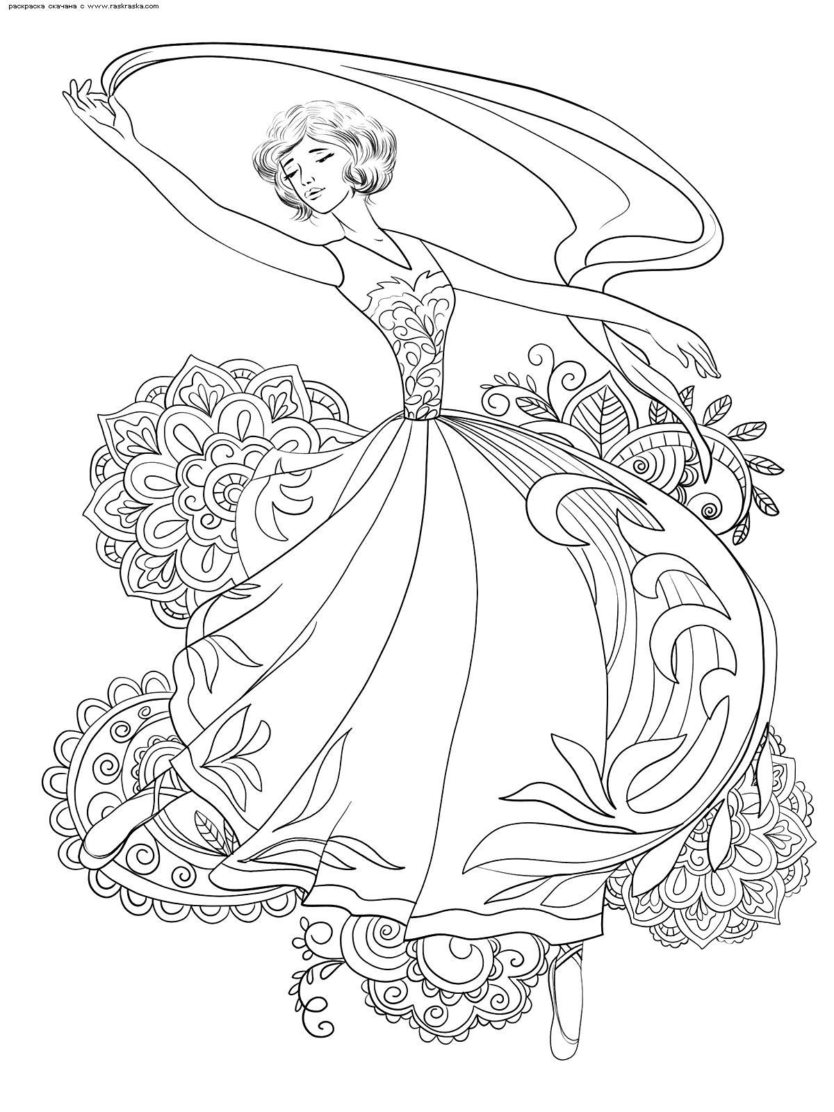 Раскраска Балерина | Раскраски антистресс Девушки. Сложные ...