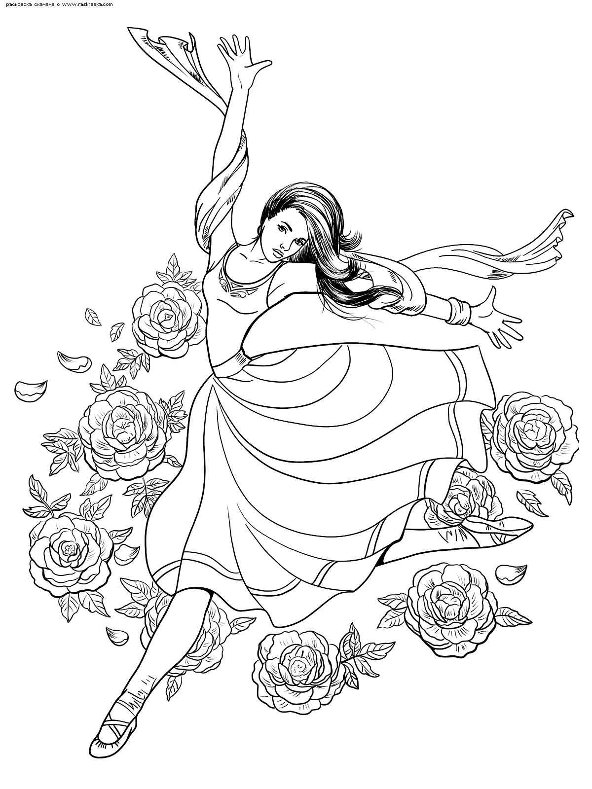 Раскраска Балерина в прыжке. Раскраска антистресс
