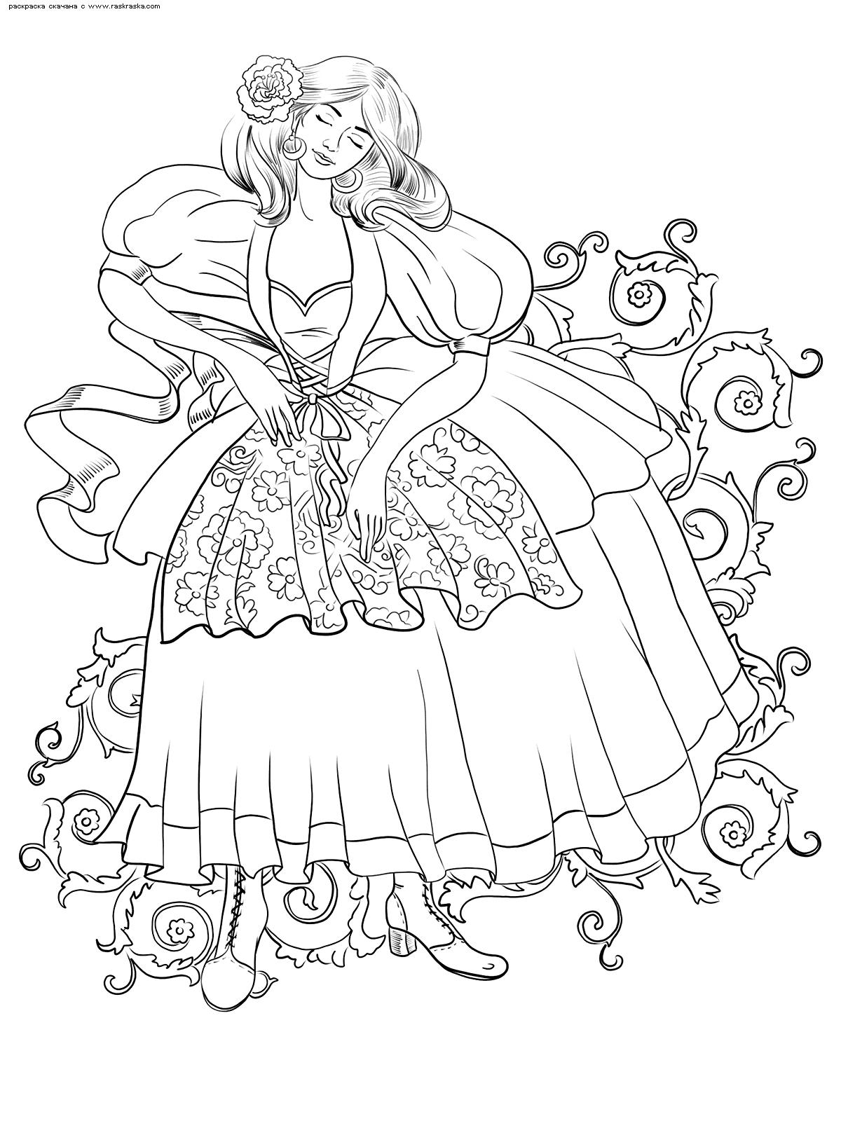 Раскраска Пышное платье. Раскраска антистресс