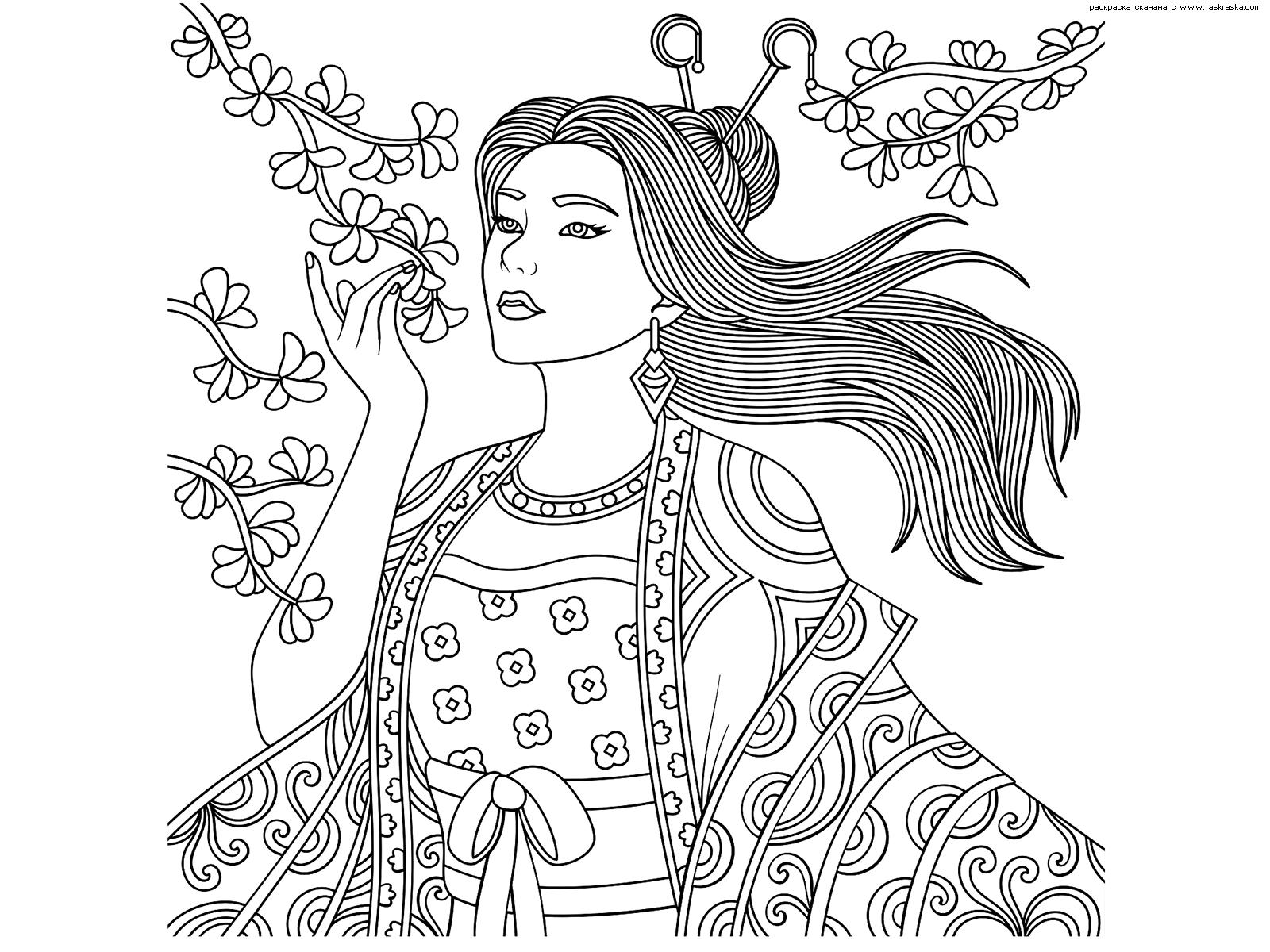 Раскраска Сакура | Раскраски антистресс Девушки. Сложные ...