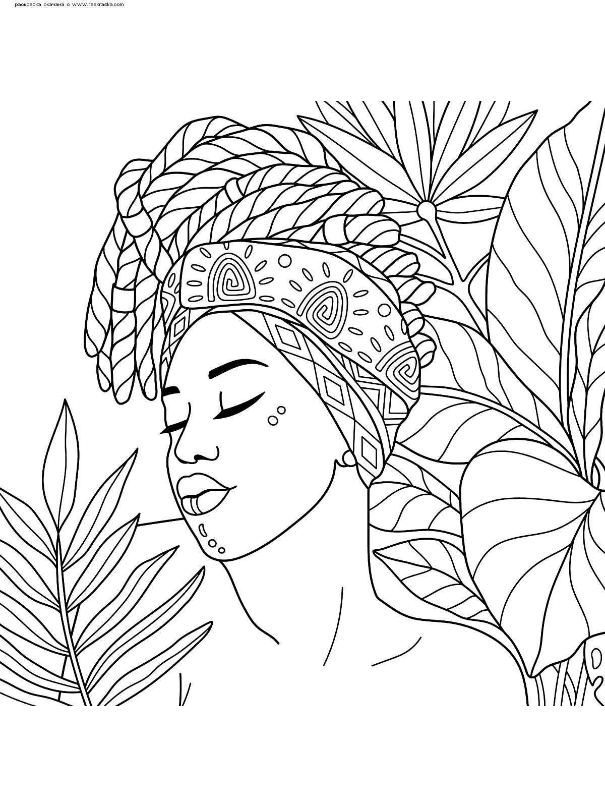 Раскраска Африканка. Раскраска антистресс