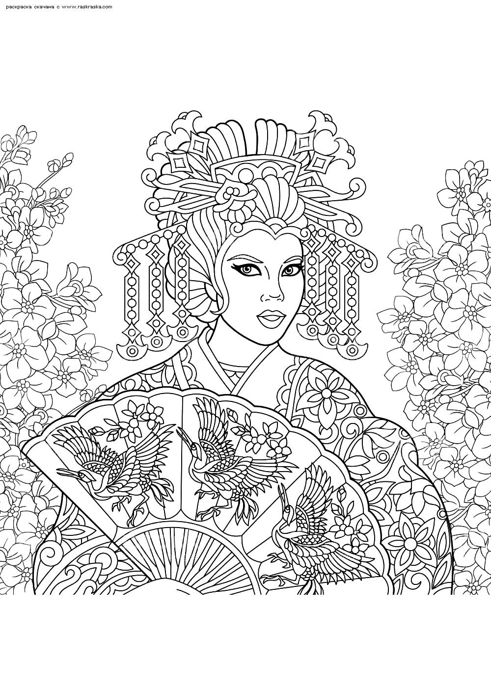 Раскраска Девушка с феером. Раскраска антистресс