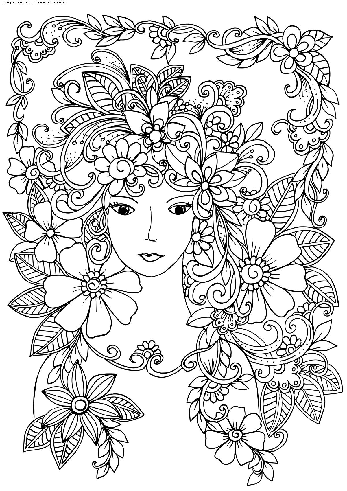 Раскраска Девушка в цветах. Раскраска антистресс