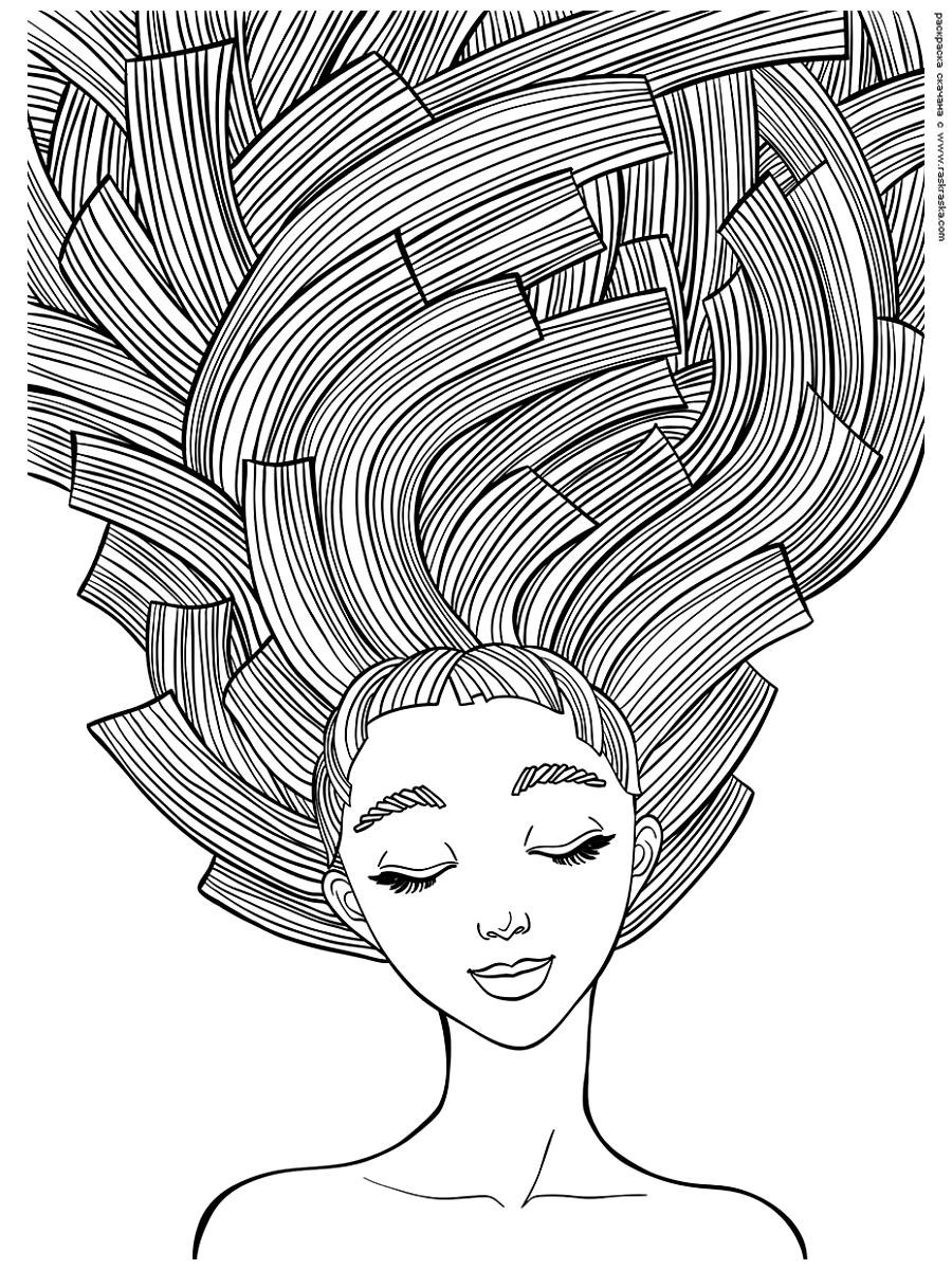 Раскраска Длинные волосы. Раскраска антистресс