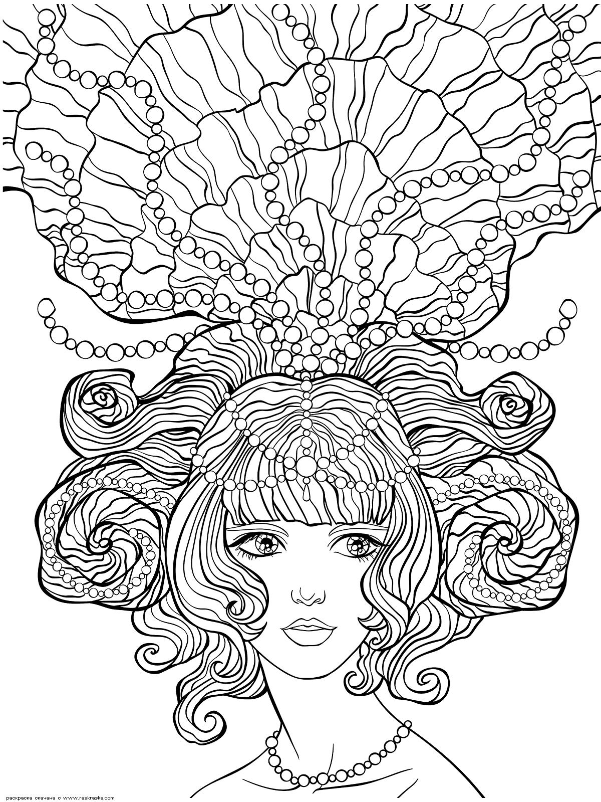 Раскраска Морская принцесса. Раскраска антистресс