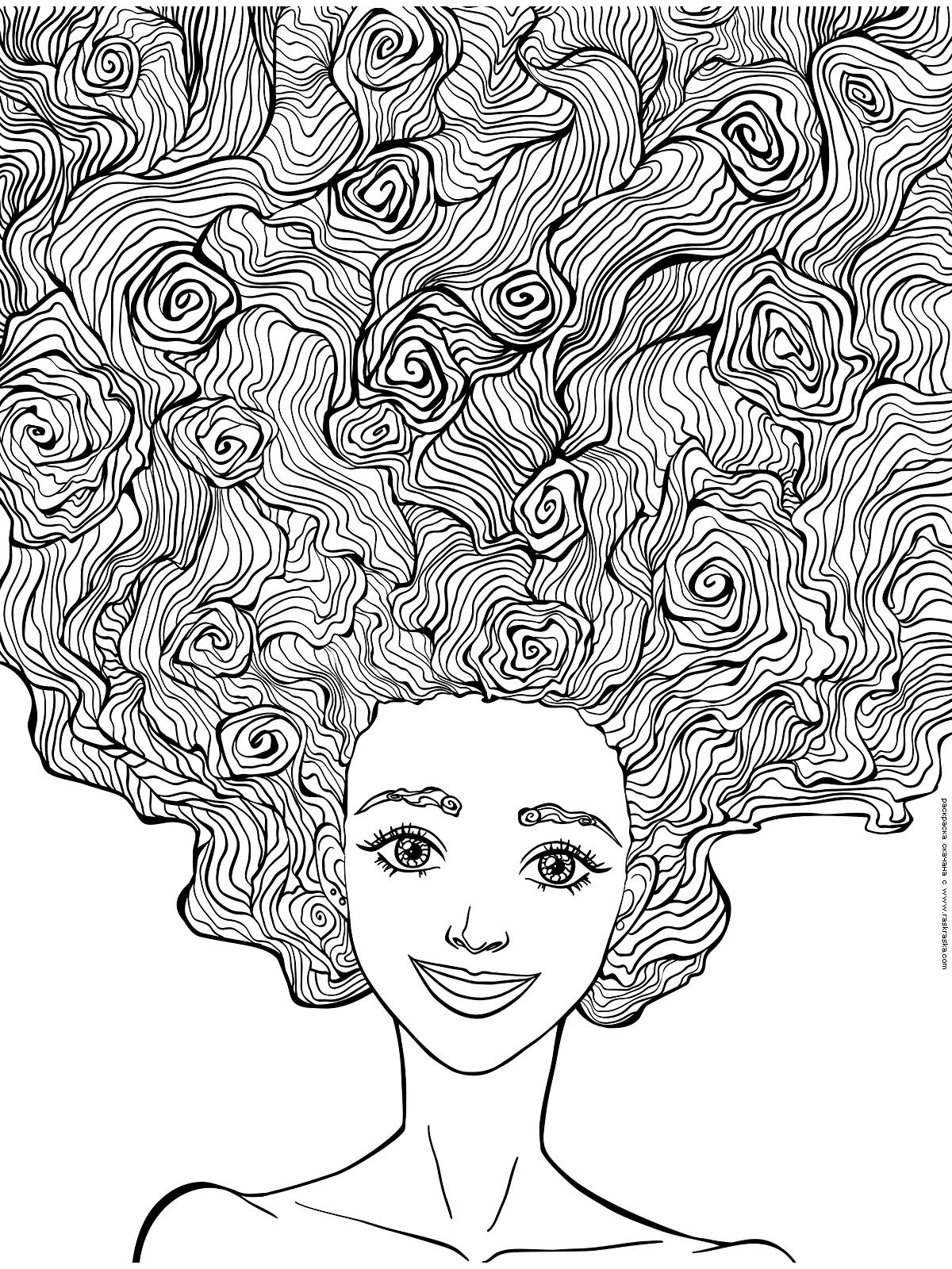 Раскраска Пышные волосы. Раскраска антистресс