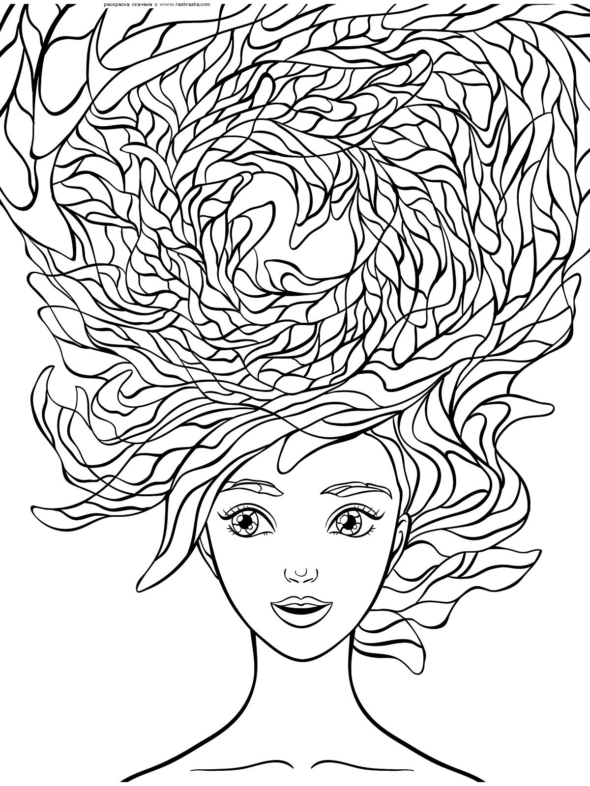 Раскраска Необыкновенные волосы | Раскраски антистресс ...