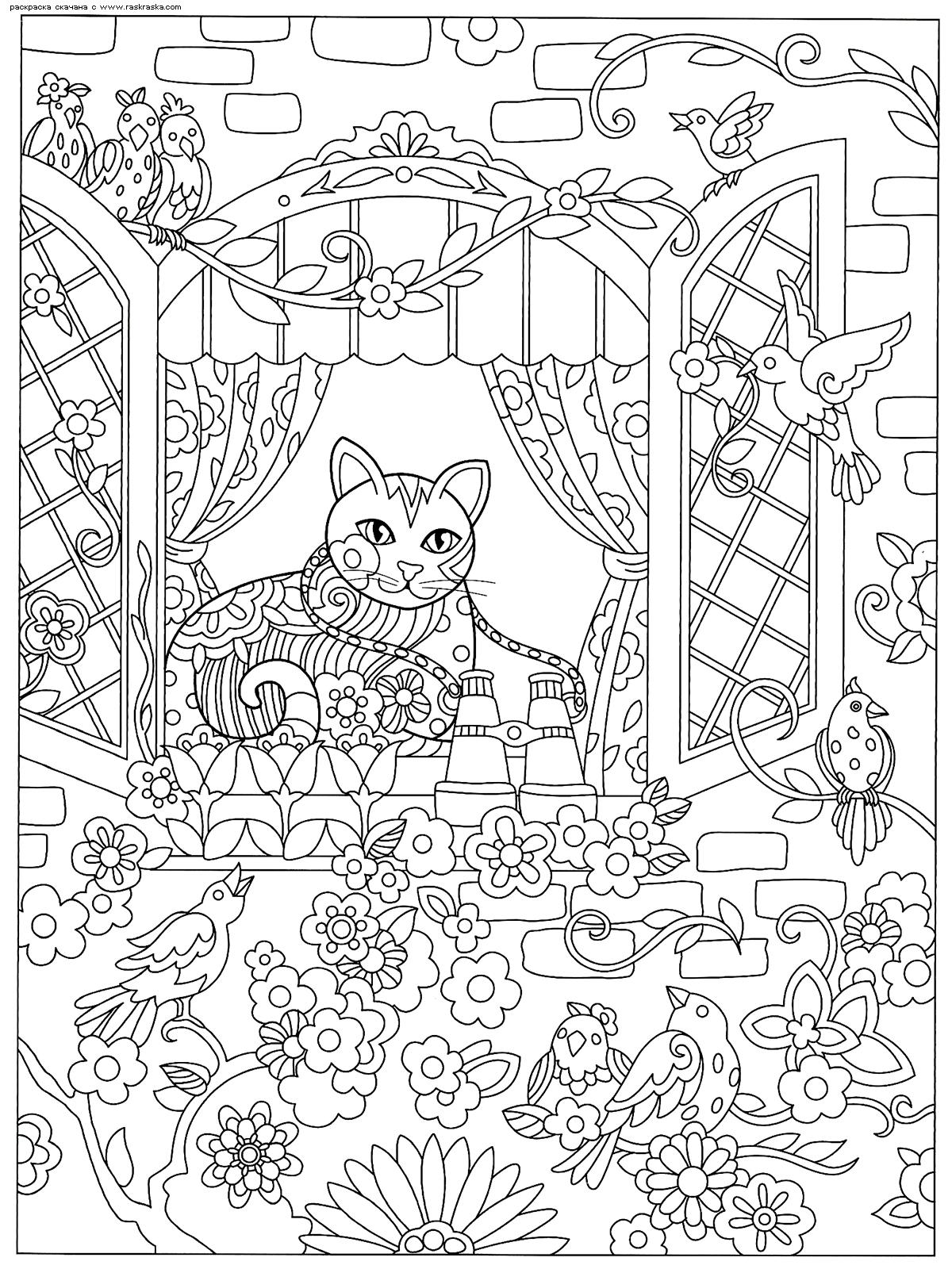 Раскраска Кошка в окошке | Раскраски антистресс Кошки ...