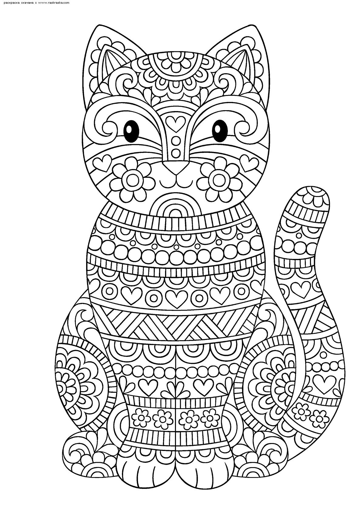 Раскраска Милая кошечка | Раскраски антистресс Кошки ...