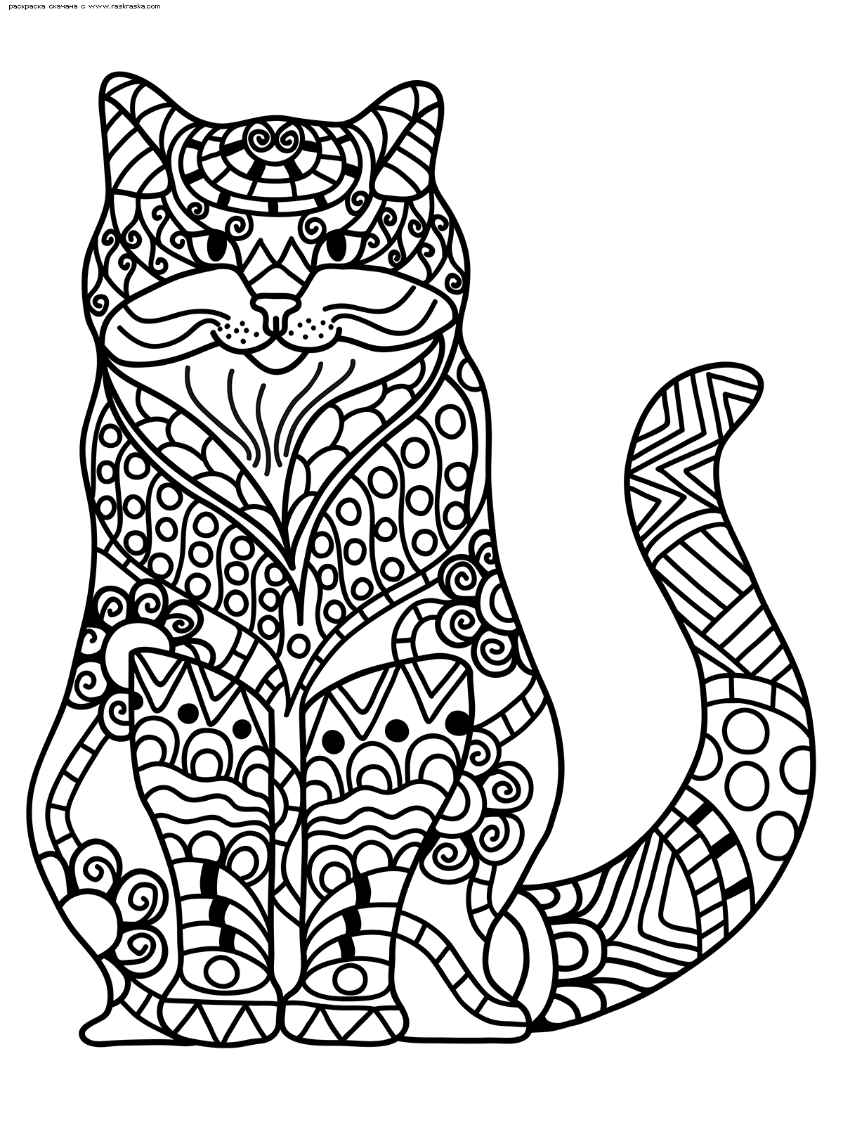 Раскраска Кот | Раскраски антистресс Кошки. Сложные ...