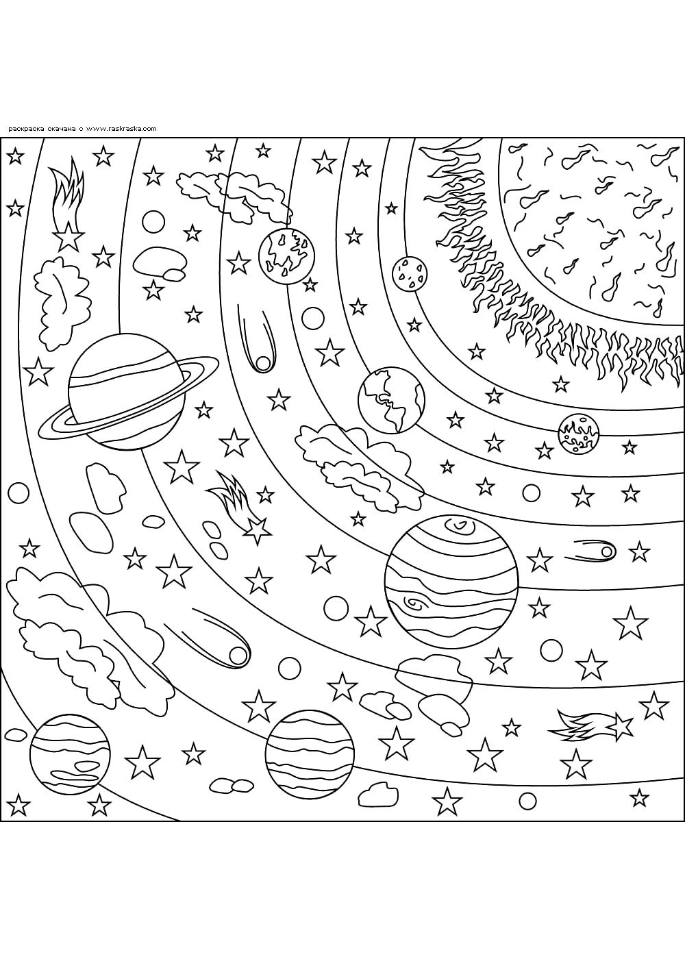 Раскраска Солнечная система. Раскраска космос, антистресс