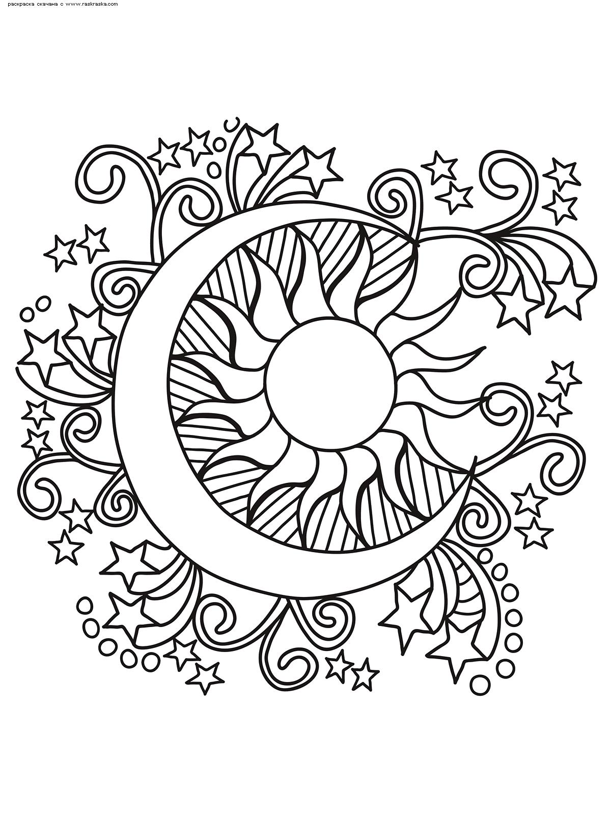 Раскраска Полумесяц и Солнце. Раскраска антистресс, луна, солнце