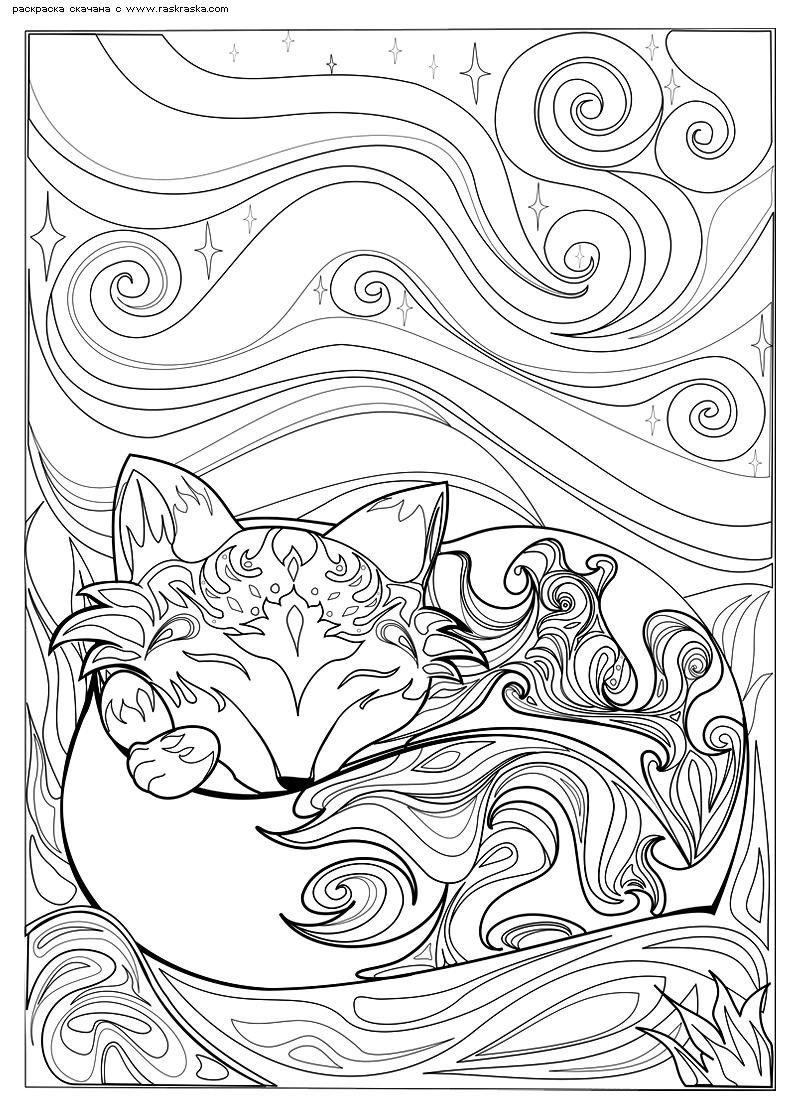 Раскраска Спящая лисичка. Раскраска лиса, антистресс