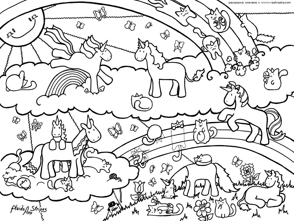 Раскраска Единорожки и кошки. Раскраска антистресс