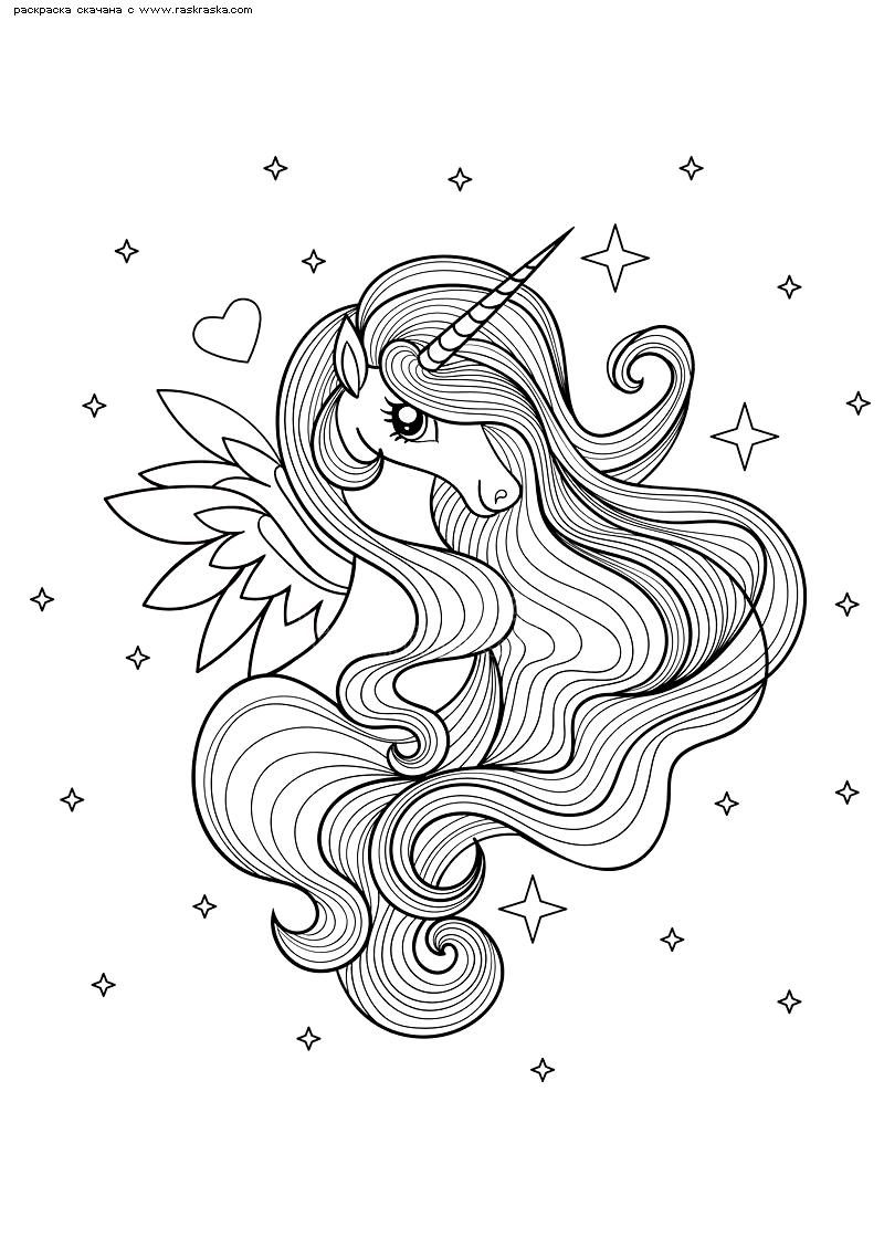 Раскраска Единорог с крыльями | Раскраски антистресс ...