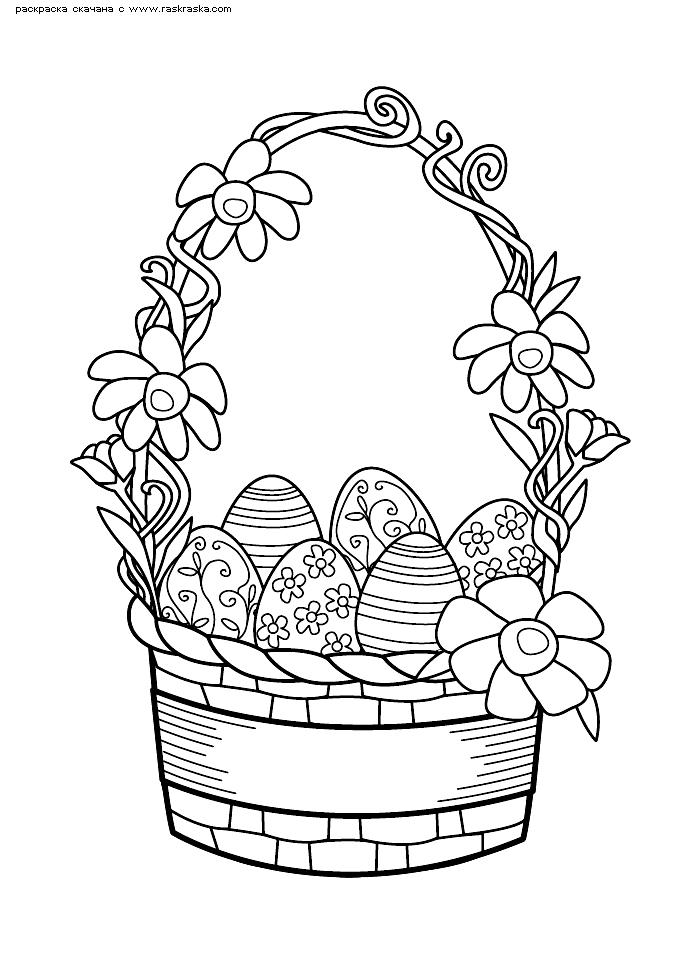 Раскраска Корзина пасхальных яйц. Раскраска Пасхальная корзина скачать картинку