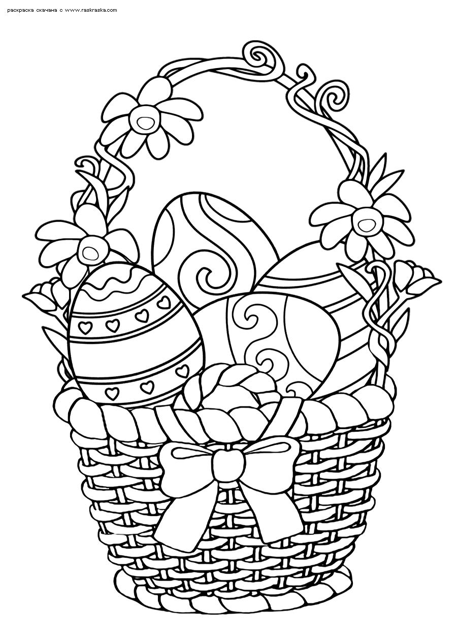 Раскраска Праздничная корзинка. Раскраска Яйца в корзине, поздравляем с пасхой