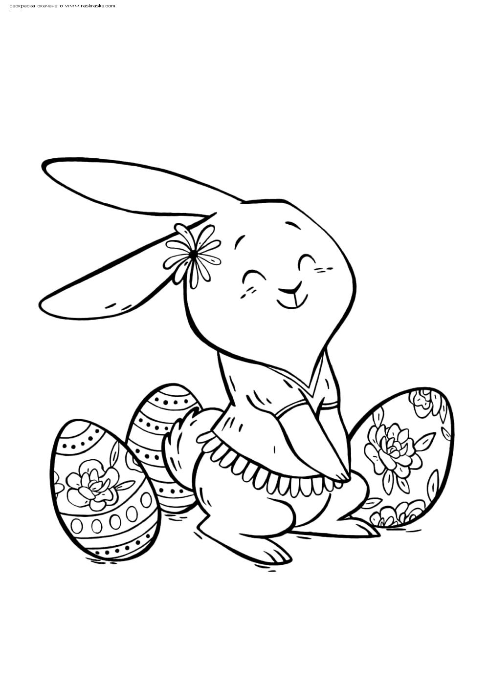 Раскраска Пасхальный кролик. Раскраска Кролик собирает пасхальные яйца