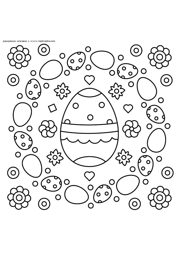 Раскраска Пасхальные яйца. Раскраска Разукраска пасха скачать, корзинка с яйцами