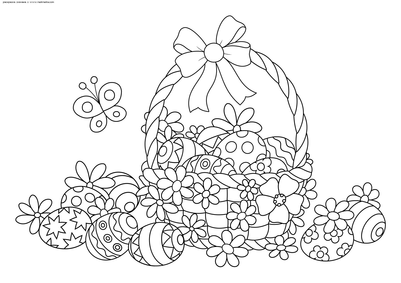 Раскраска Корзинка Пасхальных яиц | Раскраски антистресс к ...